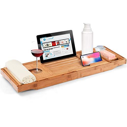 GOPLUS Badewanne Tablett aus Bambus, Ausziehbare Badewannenablage, Badewanne Halter mit 2 Abnehmbarer Fächer & Seifer Halter & Getränkehalter, Faltbarem Buchhalter mit Winkeleinstellung