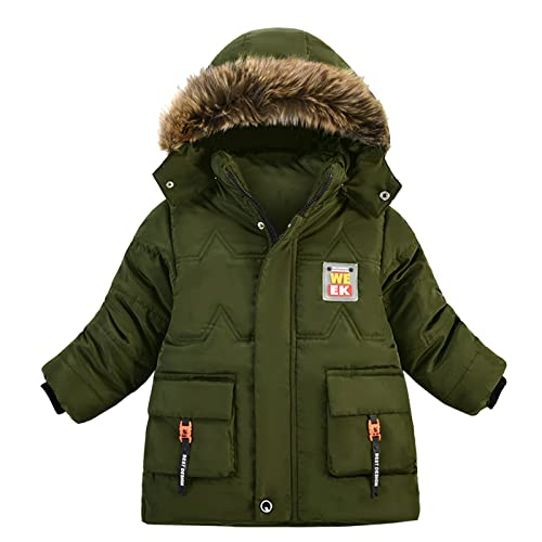 YOYORI Baby Infant Coat Thick Clothes Jacket - Toddler Boys Girls Winter Warm Hooded Zip Button Coats Outerwear (Green, 8-12 Months)