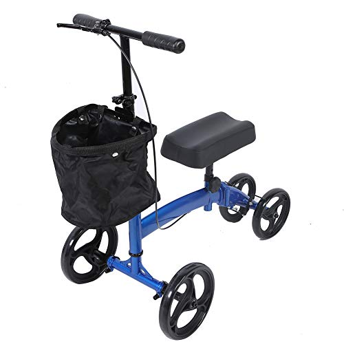 Knie-Rollator, Lenkbarer Knie Gehhilfe mit Verstellbarer Lenker und Korb Knie Walker bis 300 lbs für Rehabilitation Walking