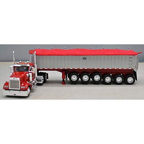 1/64 DCP Dealer Exclusive Kenworth Red W-900 Day Cab W/ 6 Axle MAC Coal End Dump Painted Silver Trailer 60-0826