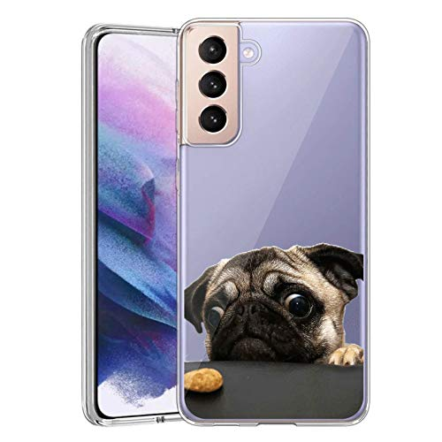 Slim Clear Pug Dog Case for Samsung Galaxy S21 Plus 5G Customized Design Soft TPU and Rubber Flexible Durable Shockproof Samsung Galaxy S21 Plus 5G Protective Case-Anti-Slippery