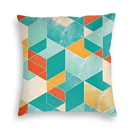 Soft Pillow Case Colored Stars Textured Cubes Decorative Square Pillow Case Sofa Bedroom Car Cushion Cover 18x18inches 45x45cm
