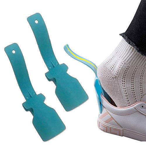 Lazy Shoe Helper - Handled Shoe Horn - Shoe Lifting Helper Easy on Easy Off, Plastic Shoehorn for Men, Women and Kids - Portable Sock Slider - Easy on Easy Off, One Size Fits for All Shoes (2 PC Blue)