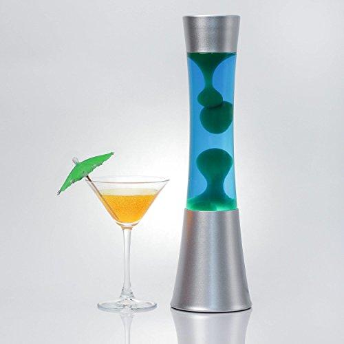 Hermosa lámpara de lava'Sandro' en azul - verde / 39 cm de altura/con bombilla incluida/con interruptor de cable/lámpara de lava como luz de ambiente, con conmutador de cable