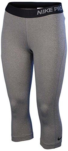 Nike Women's Capri Pro Leggings (Carbon Heather/Black, X-Small)