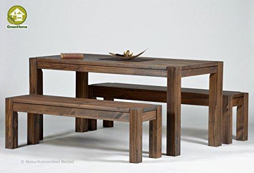 Naturholzmöbel Seidel Sitzgruppe Garnitur mit Esstisch,Rio Bonito, 140x80cm 2 Bänke 120x38cm Pinie Massivholz, geölt und gewachst, Farbton Cognac braun, Optional: Ansteckplatten verfügbar