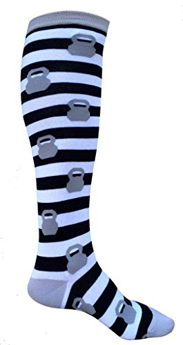 SoRock Women's Grey Kettlebell Stripped Knee Socks