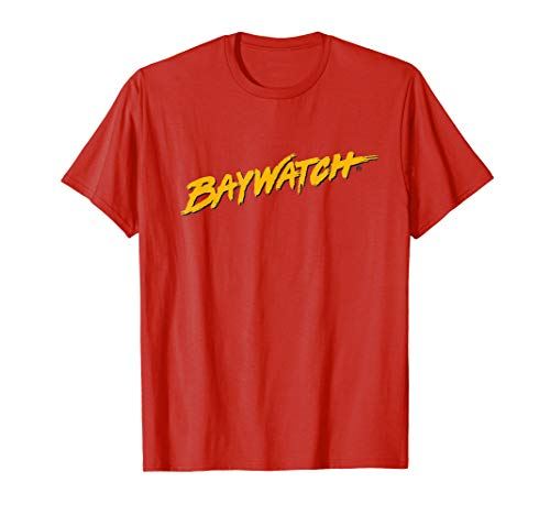 Classic Yellow Baywatch logo on Red T-Shirt, Adults, Kids
