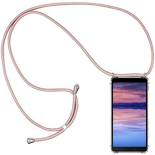 CLM-Tech Carcasa con Cuerda para Colgar Compatible con Xiaomi Redmi 6A - Funda Silicona Transparente con Cordon para Llevar en el Cuello, Oro Rosa
