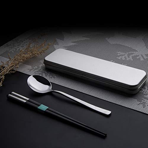 Chopsticks - Juego de utensilios de cocina reutilizables y portátiles, 1 par de palillos y cuchara con funda para estudiante y oficina, de acero inoxidable
