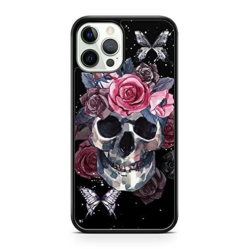 Funda para teléfono móvil con diseño de calavera sonriente y mariposas, flores y rosas (modelo de teléfono: Honor 10)