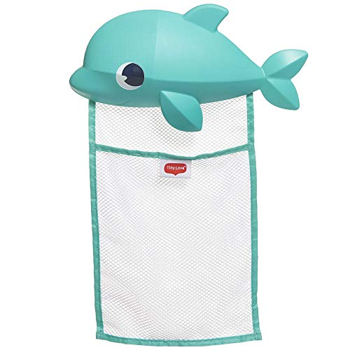 Tiny Love Bath Toy Organizer, Aufbewahrung für Badespielzeug, Bad Spielzeug einfach und schnell im niedlichen Delphin Netz verstauen, sicherer Halt dank starker Saugnäpfe, mehrfarbig