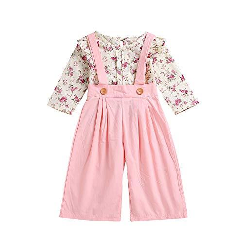 Kleinkind Mädchen Lange Ärmel Blumen Tops und Solide Hose Einstellen