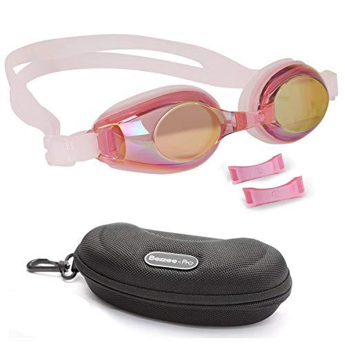 BEZZEE PRO Niños Gafas de Natación - UV Protegido Espejo Gafas - Lente de Color Recubierto con Estuche de Almacenamiento y 3 Puentes Nasales Intercambiables para 4 a 12 años Chicos y Chicas