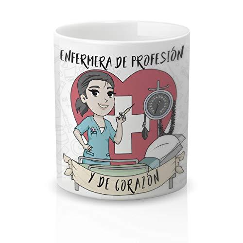 Yujuuu! | Taza cerámica Original Enfermera. Resistente 100% al microondas y lavavajillas. Taza con Frase Enfermera de profesión y corazón.