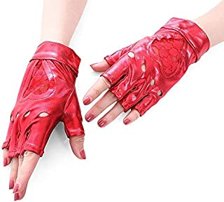 SHENTIANWEI Women Punk lace Half Finger PU Leather Performance Gloves (Color : Red)