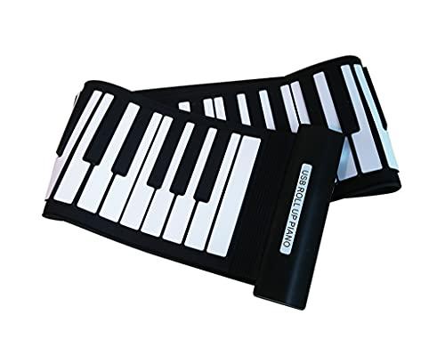 FEFCK Piano De Rodillo De Mano De 61 Llave con Velocidad USB Portátil Plegable Teclado Digital Piano De Soporte Digital Computadoras Externas Y...