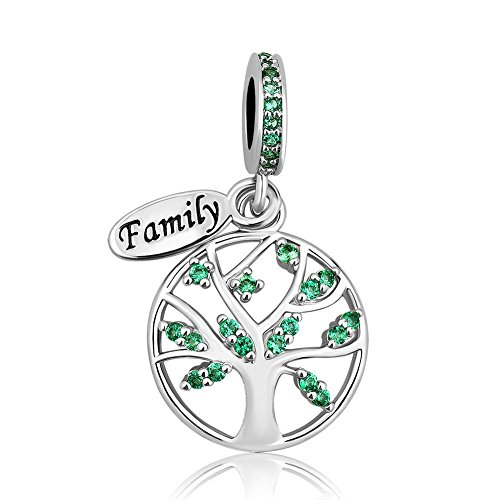UNIQUEEN Tree of Life Green Birthstone Family Charms fit Charm Bracelet & Necklace