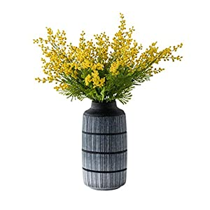 fevilady Artificial Flowers Artificial Yellow Acacia Flowers Mimosa Plush Silk Flower Fake Flower Vase Set Home Wedding Party Table Decor Fake Flower Suit (Color : Line Pattern vase+Flower)