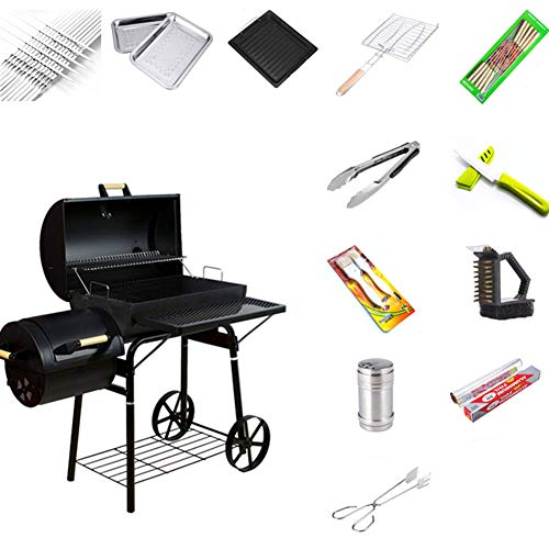 BBQ Grill Charcoal Barbecue Grill Home Meat Cooker Smoker with Offset Smoker and Fold-Down Shelf, Outdoor Picnic Camping Garden Roaster for 8-12 People,B