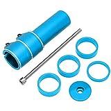 Wosune Dispositivo de Aumento de Manillar de Bicicleta, Dispositivo de Aumento de Bicicleta Extensor de Tubos de Horquilla Delantera de Bicicleta, aleación de Aluminio para Bicicleta de montaña(Blue)
