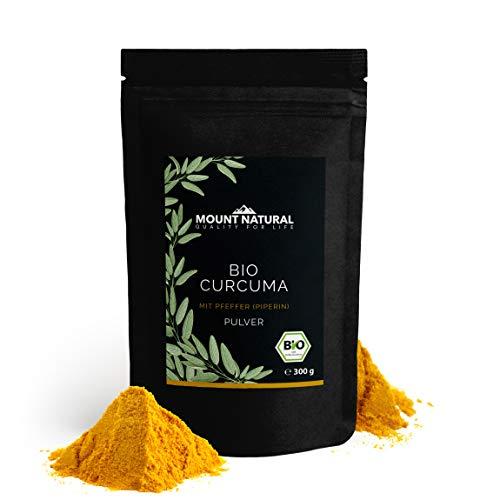 Bio Curcuma-Pfeffer-Pulver-Mix. Laborgeprüft . Ohne Zusätze. Extra viel Piperin und Curcumin. 8% PFEFFER-ANTEIL. Vegan. Abgefüllt in Deutschland
