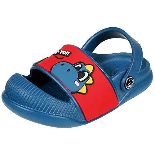 Beslip Toddler Boys Girls Clogs - Baby Boy Girl Anti-Slip Beach/Pool Sandals Closed Toe Slip on Water Shoe Navy 17