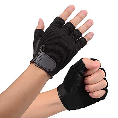 Yuzhijie Guantes de fitness para hombre y mujer, equipo de entrenamiento, levantamiento de pesas, medio dedo, guantes deportivos, color negro - L
