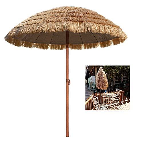 YYQ SHOP ø145x210cm Parasol Ombrelle Paille pour Jardin Plage Restaurant Piscine,Parasol Hawaii Réglable Léger UV50+ Hydrofuge,Naturel,Portable