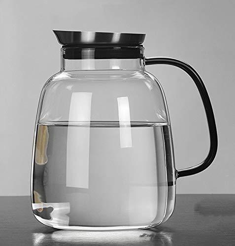 WXXT Jarra de Agua de2000ml,Jarra de Vidrio con Tapa de Acero Inoxidable,Jarra Agua Cristal a Prueba de Goteo Jarra de Vidrio Resistente a Altas temperaturas,con Taza de Agua