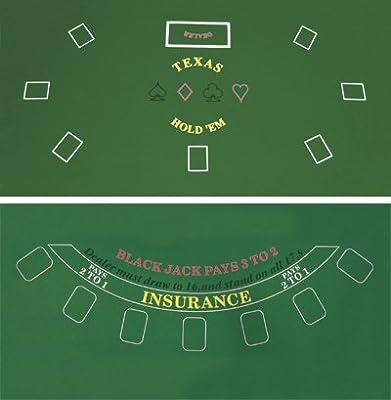 DA VINCI 2 Sided Texas Holdem and Blackjack Casino Felt Layout 36 Inch x 72 Inch