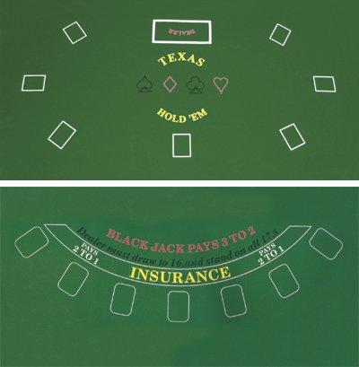 DA VINCI 2-Sided Texas Holdem and Blackjack Casino Felt Layout 36 Inch x 72 Inch