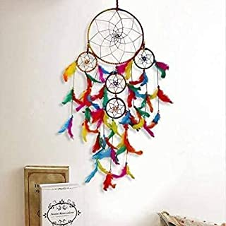 DIGITAL COMM Handwoven 5 Tier Feather Multicolor Dream Catcher Attract Positive Dreams Traditional Indian Wall Art for Bed...