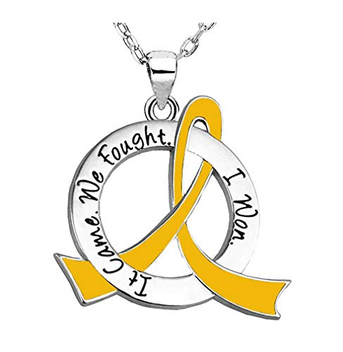 It Came. We Fought. I Won. Survivor Necklace Childhood Cancer Neuroblastoma COPD (Gold Ribbon)
