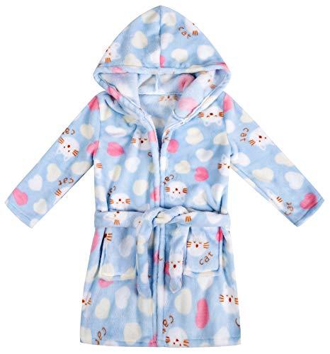 Image of Blue Fleece Hooded Heart Cat Robe for Toddler Girls - See More