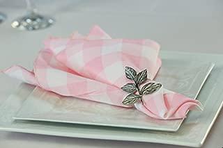 Zhen Linen Pack of 12 Polyester Napkins (Pink & White Gingham)