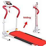 GZS Red Folding Space Saving Electric Walking Treadmill with Safety Key, Treadmills for Home with LCD Monitor Motorized, 1-6 Speed Compact Running Jogging Trainer