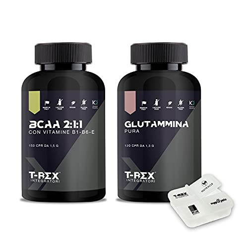 POWER COMBO: Aminoacidi ramificati BCAA 2:1:1 Kyowa 150 cpr + L-Glutammina Kyowa 120 cpr + Porta Pillole. Ottimizzati per allenamento fisico