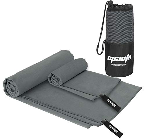 2-Pack Microfiber Fast Drying Travel Gym Towels, Grey, (60''x30'', 24''x15'')