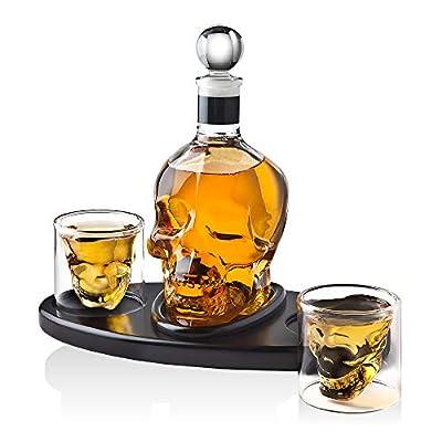 Whiskey Decanter Skull Set with 2 Cocktail Shot Glasses - for Liquor, Scotch, Bourbon or Vodka - 850ml