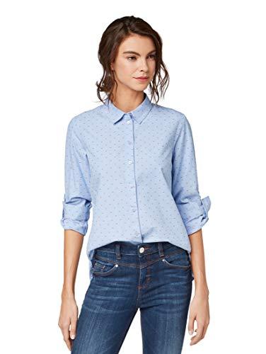TOM TAILOR Damen Blusen, Shirts & Hemden Gemusterte Hemdbluse Blue Dobby Design,42