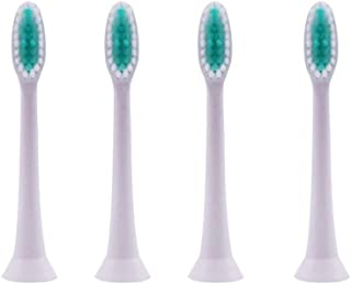 Compatible Toothbrush Heads Replacement for Sonic Electric Tooth Brush, 7x More Plaque Removal, End-rounded Soft Bristles, Extra Gentle Touch Gums, Comfortable & Healthy, White (4 Pack)