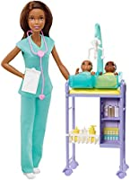 Barbie Baby Doctor Playset with Brunette Doll, 2 Infant Dolls, Exam Table and Accessories, Stethoscope, Chart and Mobile...