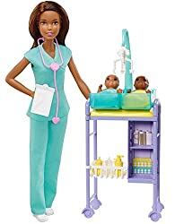 "​You can be a baby doctor with the Barbie Baby Doctor playset Includes baby doctor environment with Barbie Baby Doctor doll, adorable baby doll patients and toy play pieces for examinations and caretaking. ​ ​Wearing light green ""scrubs,"" and with a ..."