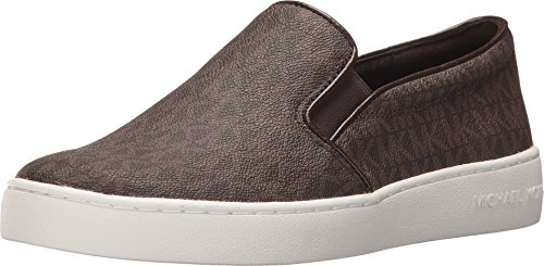 Michael Michael Kors Keaton Slip-On Brown Mini Mk Logo Coated Canvas/Suprema Nappa Sport 7.5 M