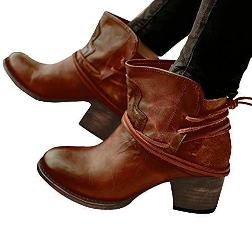 Dasongff Damen Stiefeletten Ankle Boots mit Blockabsatz Retro-Stil Kurze Stiefel Spitzschuh High Heel Schuhe Schnürsenkel Frauen Klassischer Bequem Spitzschuhe Kurze Stiefeletten Herbst Winter