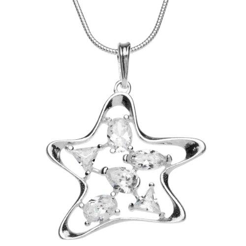 InCollections 241A201669340 - Catenina con pendente da donna con zirconia cubica, argento sterling 925, 420 mm