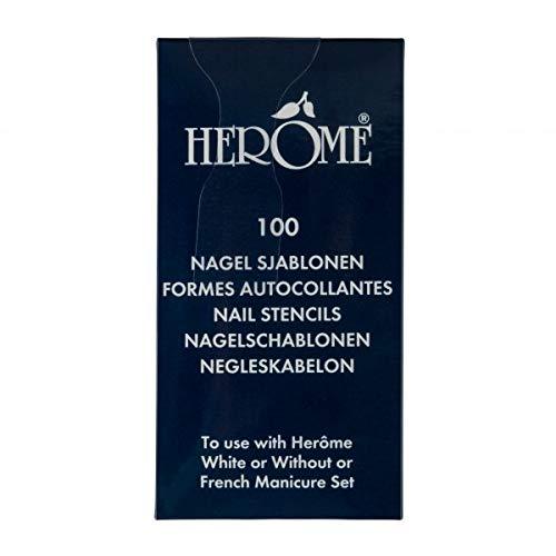 Herome Nagelschablonen (Nail Stencils) - 1 x 100 Stück - Selbstklebende Nagellack Schablonen für eine French Manicure - Nail Tip Stickers