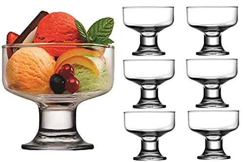 Ice Cream Dessert Cups High Quality Glassware Cocktail Glasses Appetiser Fruit Salads Pudding Dishes Footed Dessert Sundae Cocktail Bowls - Set of 6
