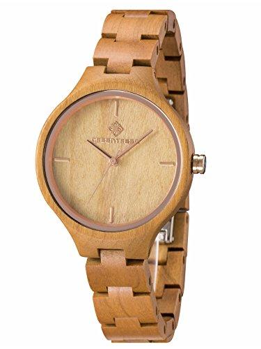 GreenTreen Reloj de pulsera de madera...